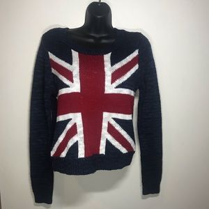 REBELLIOUS ONE Union Jack Sweater, Size Small
